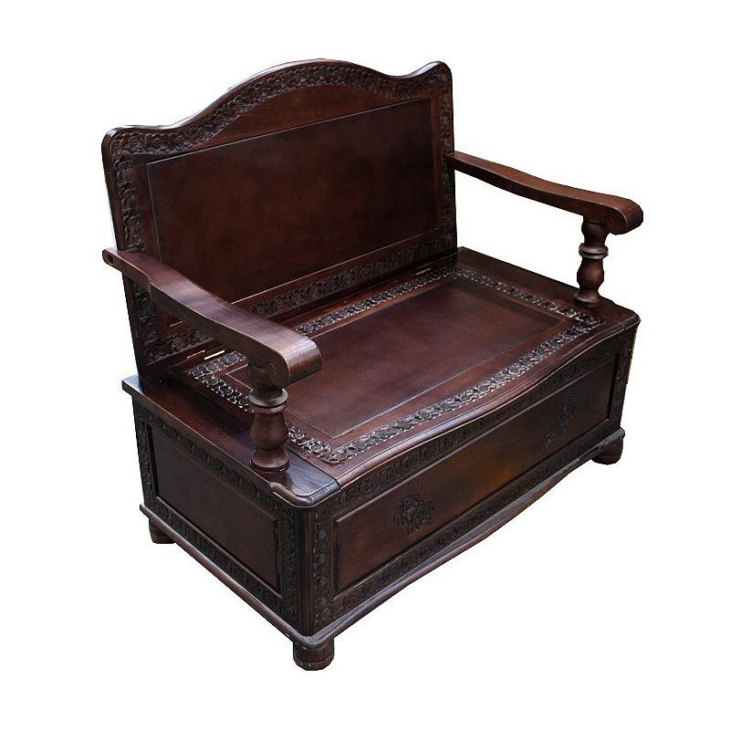 Stylowa ławka drewniana ręcznie rzeźbiona 90x97.5x55cm