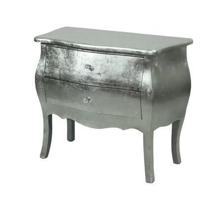 komoda 2 szuflady srebrna