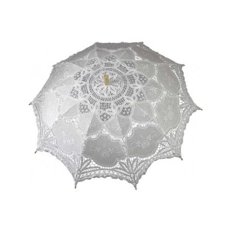 parasolka koronkowa ślubna biała miniatura
