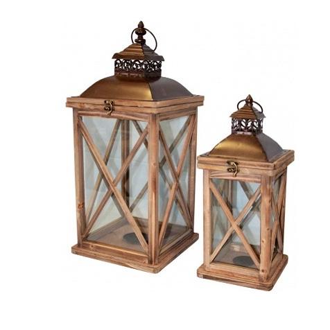 lampion drewniany komplet z daszkiem
