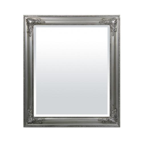 lustro w srebrnej stylowej ramie
