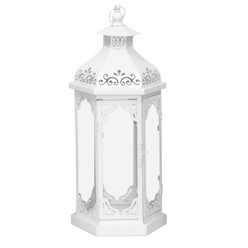 lampion metalowy ażurowy biały