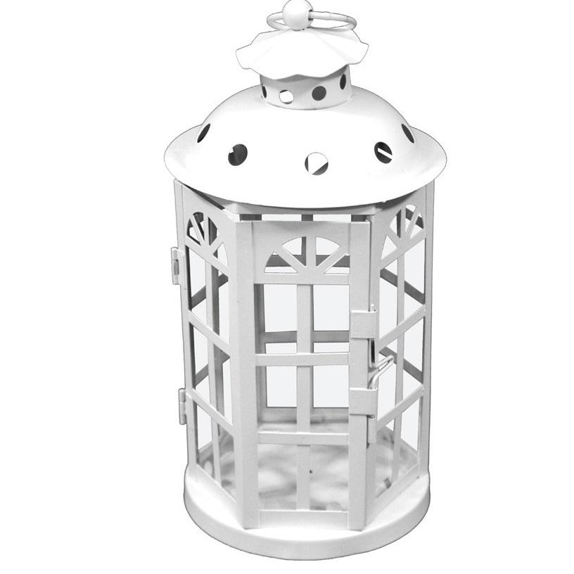 lampion metalowy biały średni