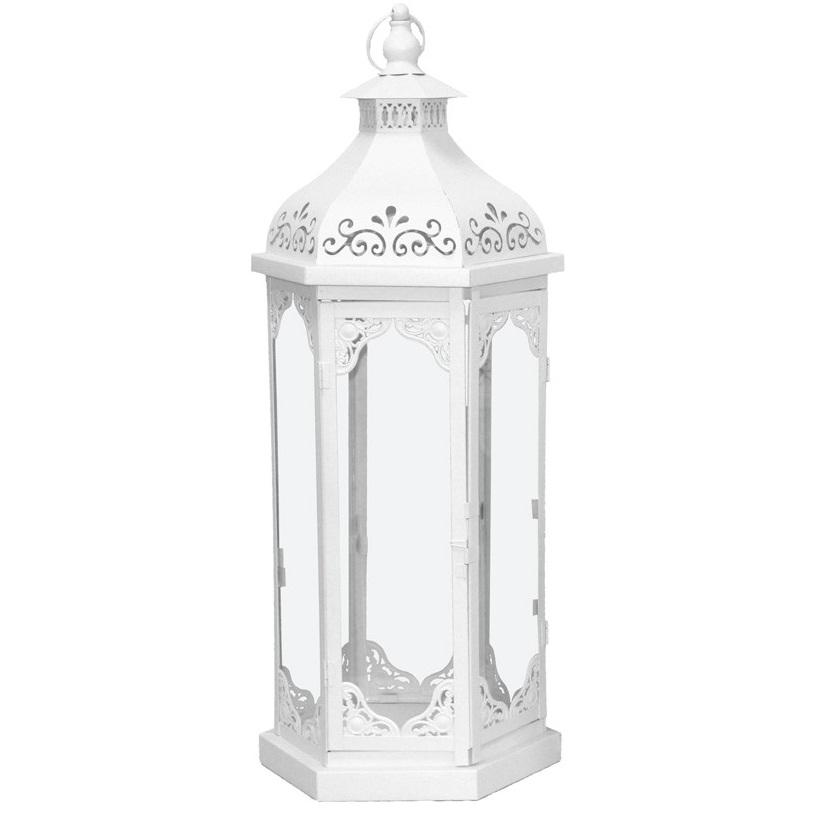 lampion metalowy biały duży
