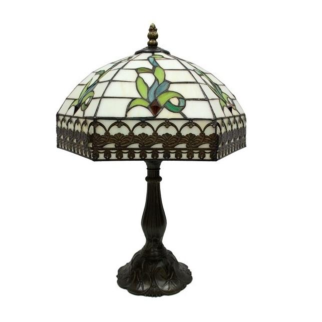lampa witrażowa biało-zielona