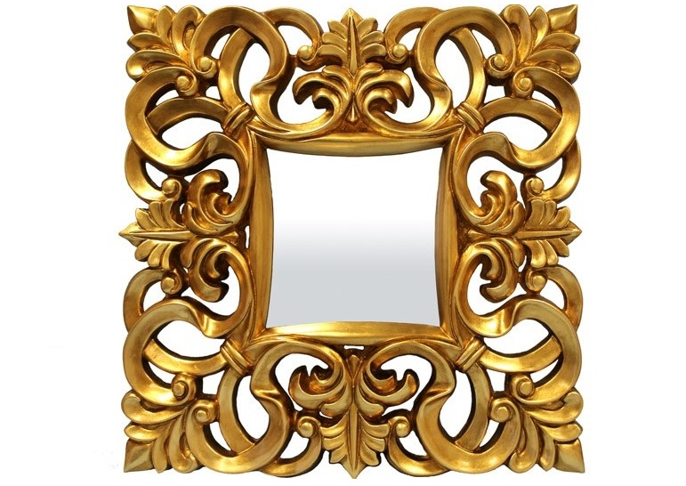 lustro kwadratowe złota rama