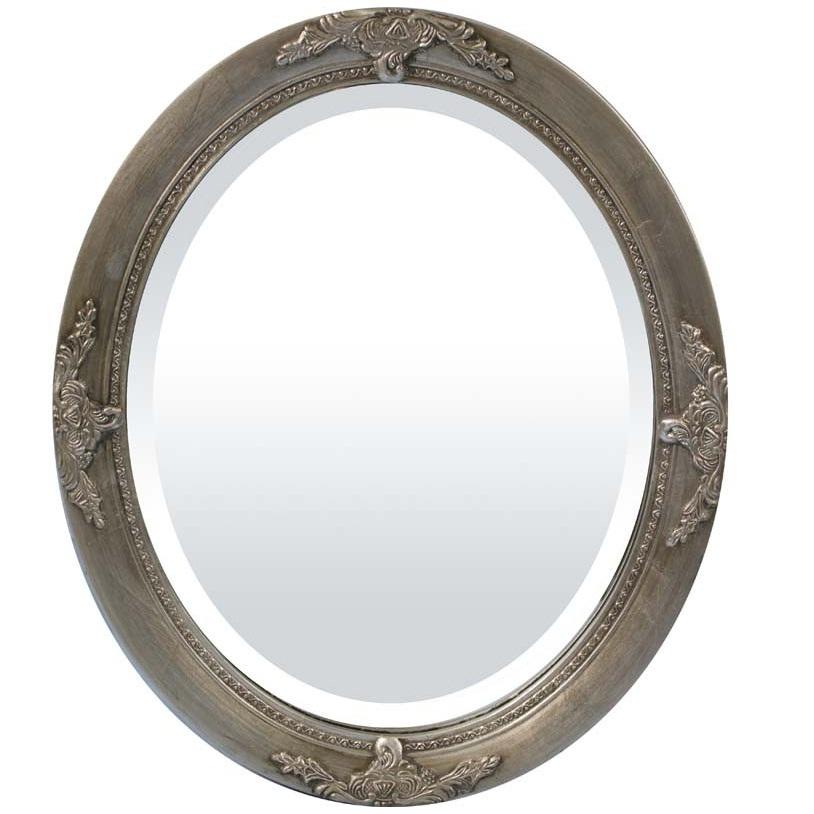 lustro owalne srebrna rama