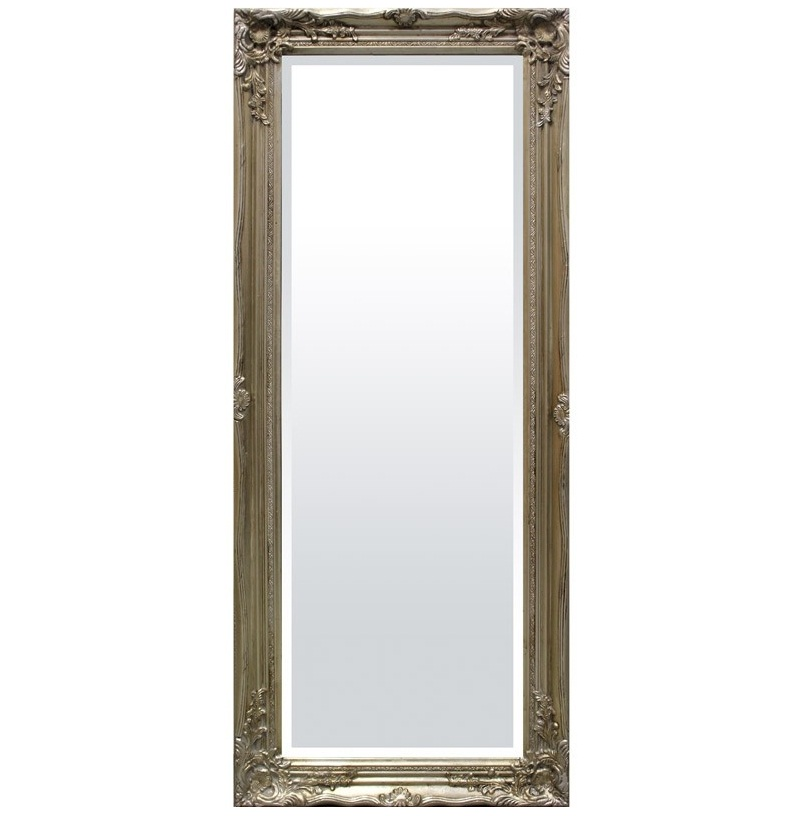 lustro wysokie w srebrnej ramie