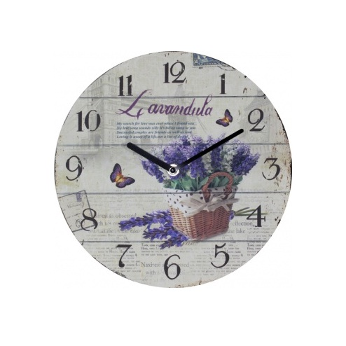 zegar z motywem lawendy