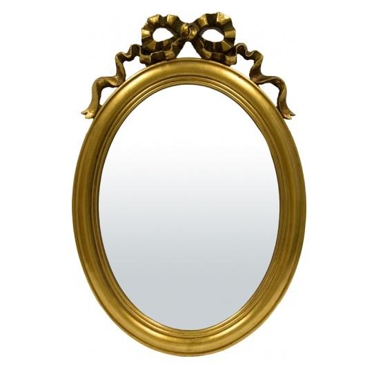 lustro owalne złota rama z kokardką