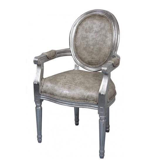 krzesło srebrne z podłokietnikami