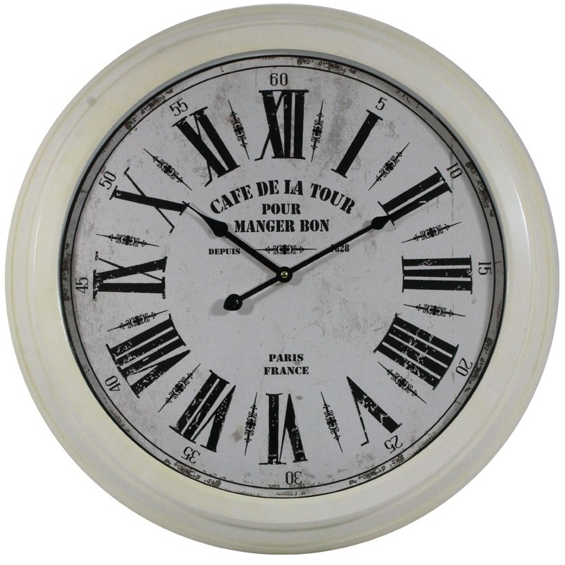 zegar biały cafe