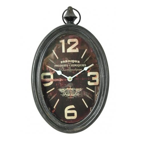 zegar owalny brązowy