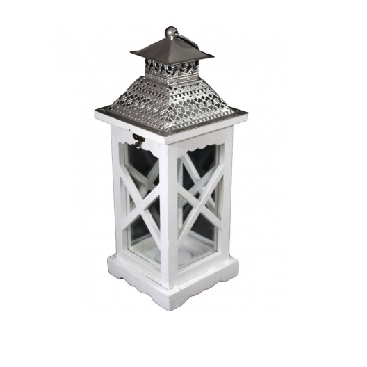 Lampion drewniany biały z daszkiem