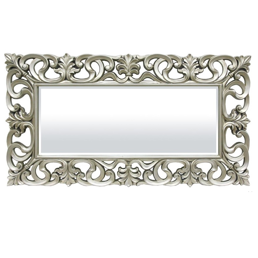 lustro duże srebrna rama korona