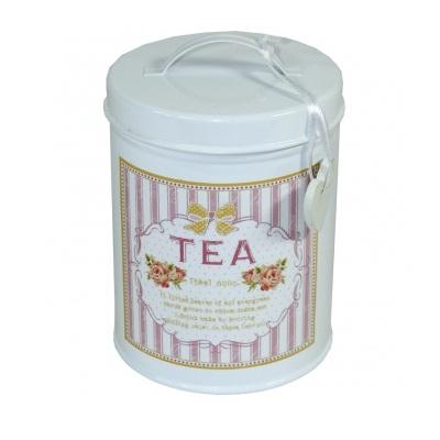 puszka metalowa na herbatę z sercem