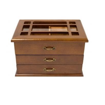 szkatułka na biżuterię z szufladkami i szybką