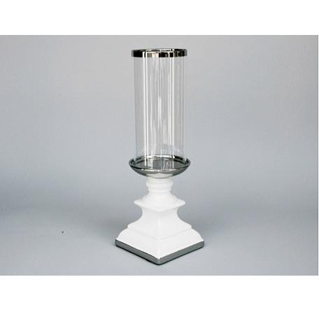 lampion ceramiczny biały ze szklanym kloszem