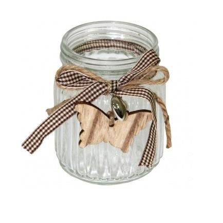 świecznik szklany z motylkiem