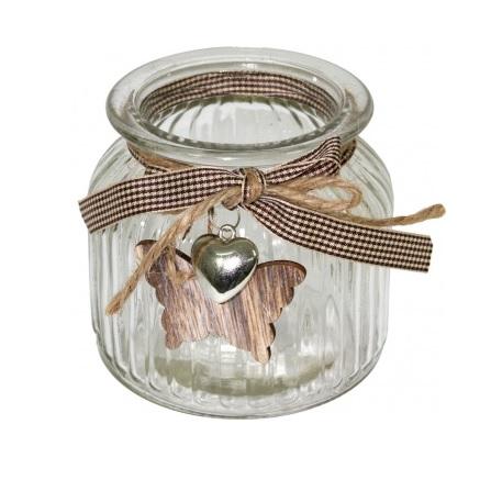 świecznik szklany z wstążeczką