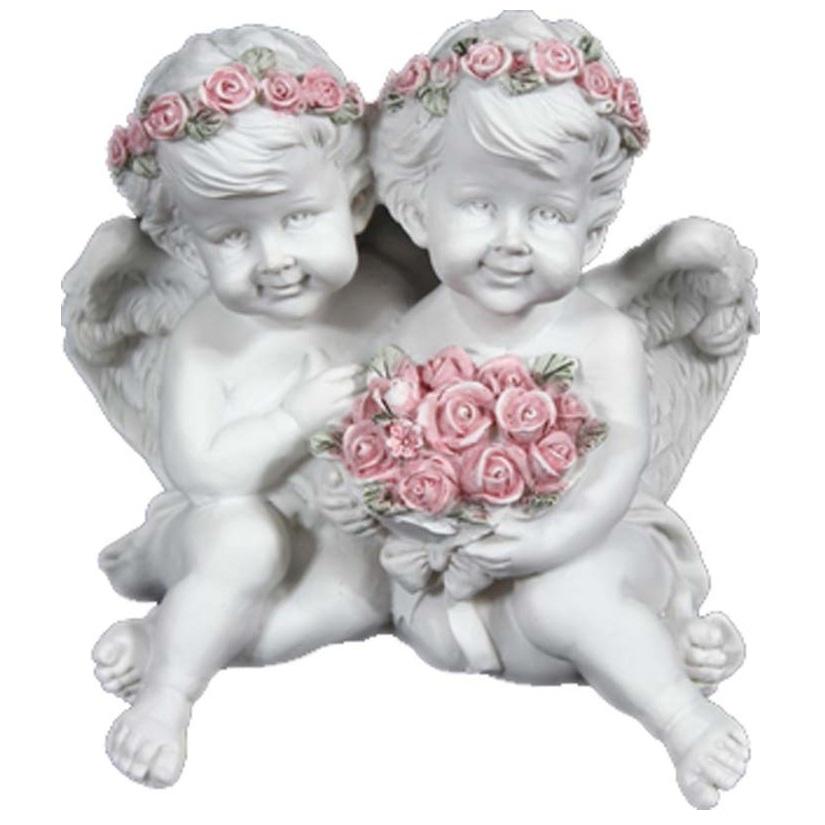 aniołki białe różowe wianki