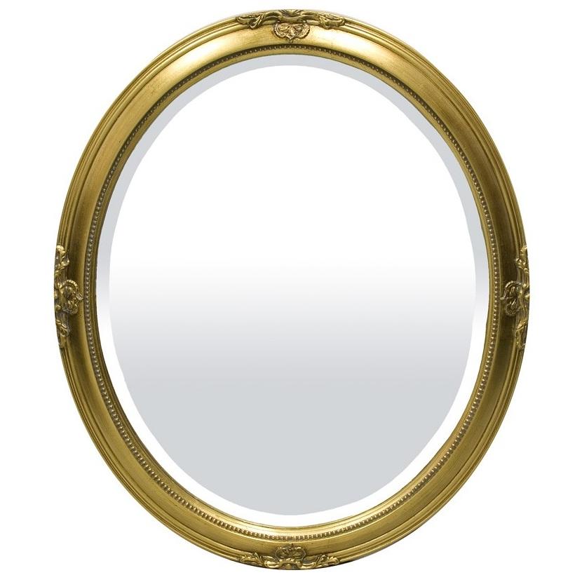 lustro owalne w złotej ramie