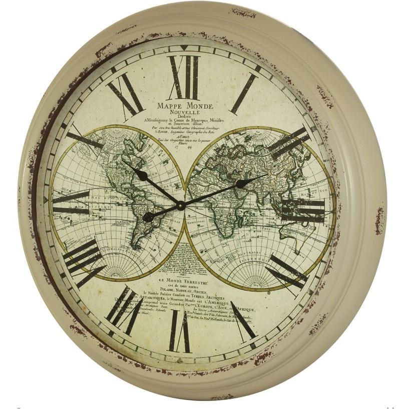 zegar biały mapa świata
