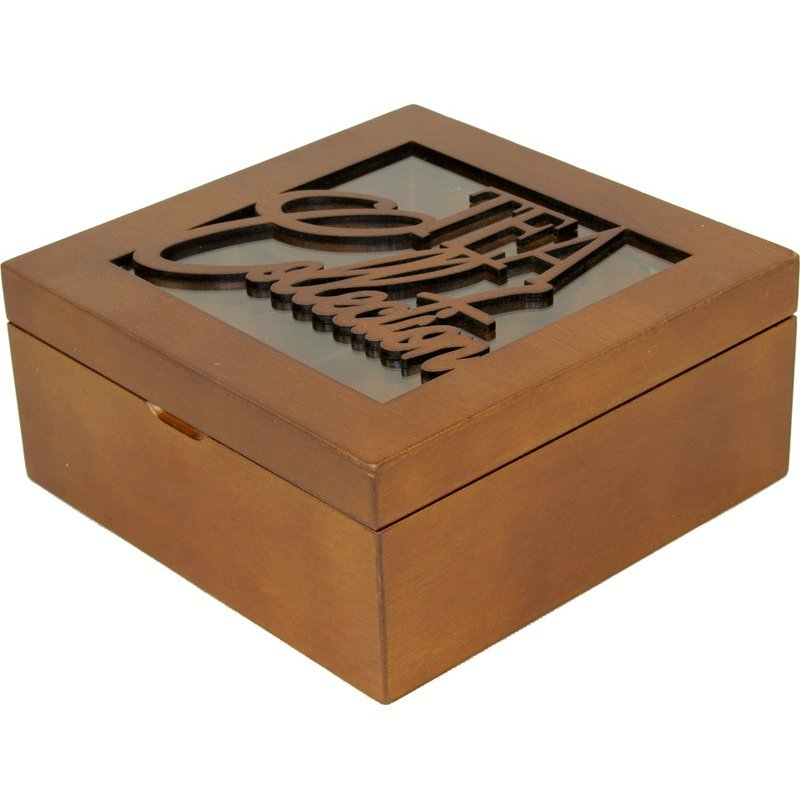 Skrzyneczka drewniana na herbatę orzech 101134