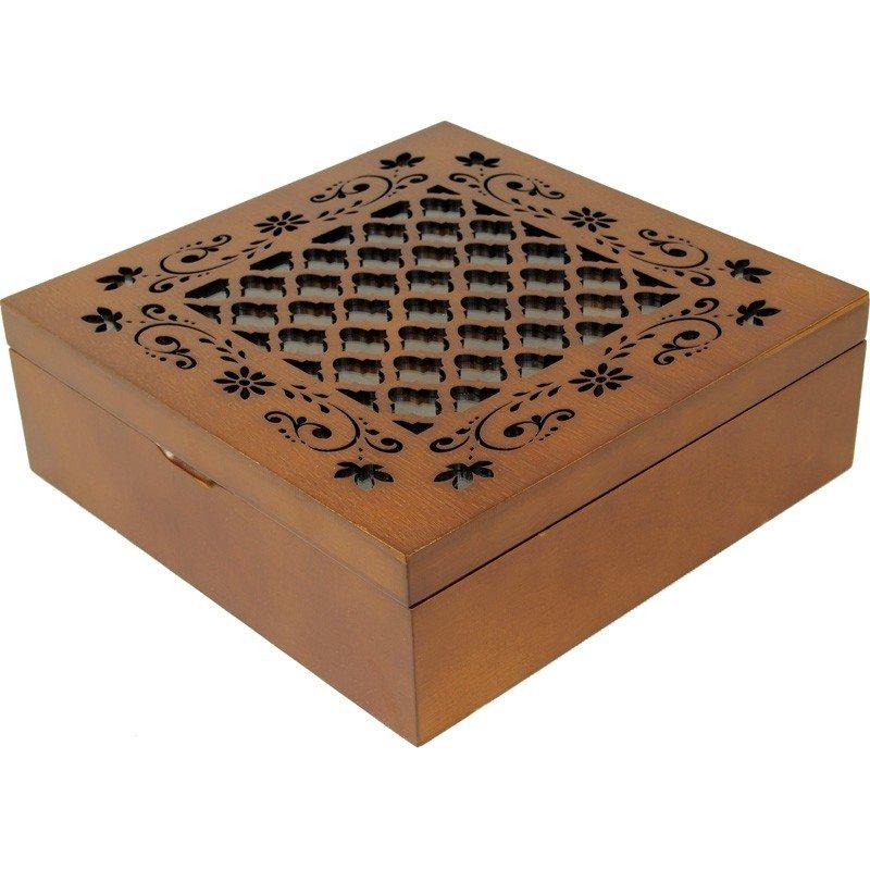 Skrzyneczka drewniana na herbatę orzech 101149