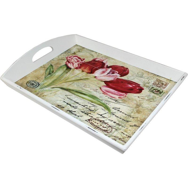 Taca drewniana z motywem kwiatowym 101848