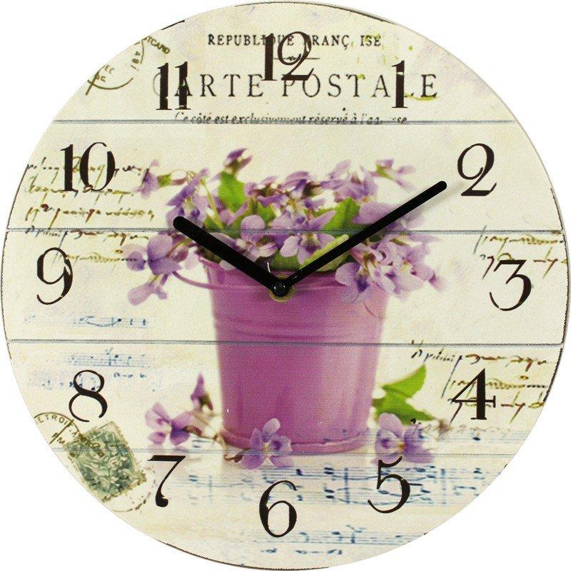 zegar z motywem kwiatowym 28x28