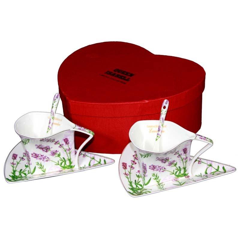 Filiżanki ceramiczne z podstawką i łyżeczkami 2x2