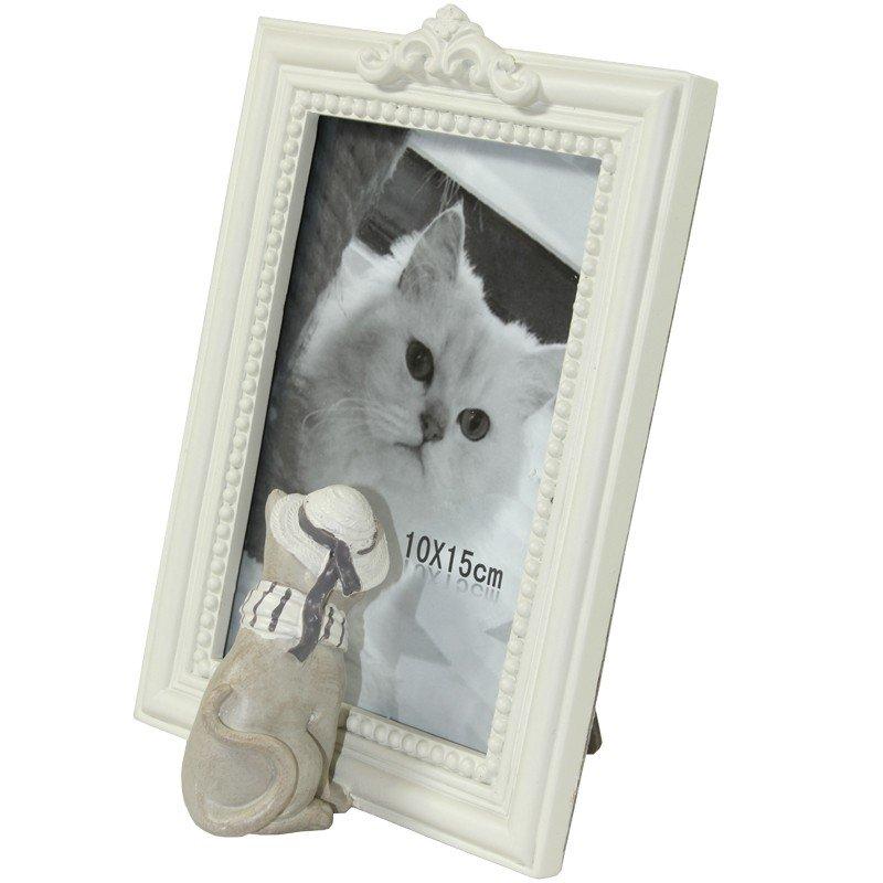Foto ramka z figurką kota biała