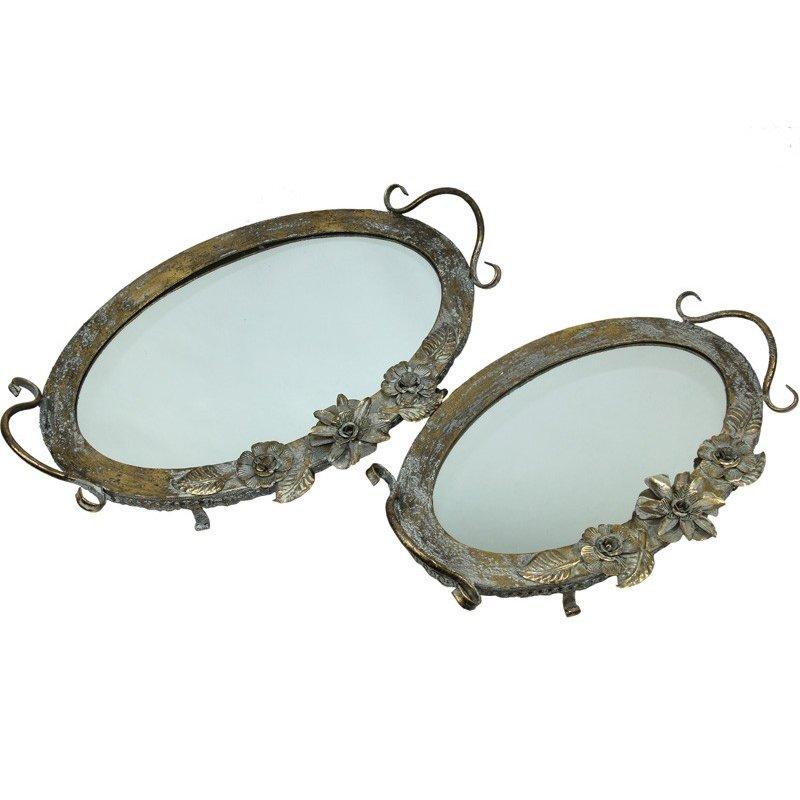 Dwie tace metalowe z lustrzanym spodem